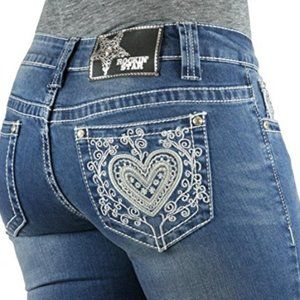 Lace Heart Embroidered Jean Boot Leg Studded 31